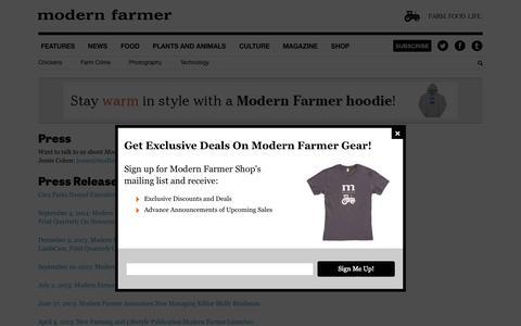 Screenshot of Press Page modernfarmer.com - Press - Modern Farmer - captured Oct. 26, 2014