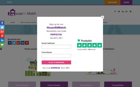 Screenshot of Signup Page housesitmatch.com - Petsitters and housesitters are checked on HouseSitMatch- Register today - captured Sept. 30, 2018