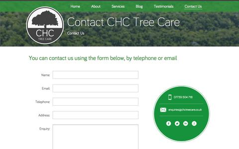 Screenshot of Contact Page chctreecare.co.uk - Contact Us - CHC Tree Care - captured July 14, 2018