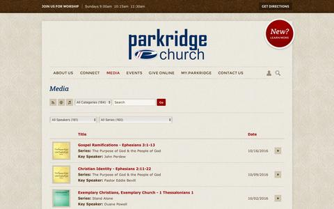 Screenshot of Press Page parkridgechurch.com - Parkridge Church | Media - captured Oct. 21, 2016