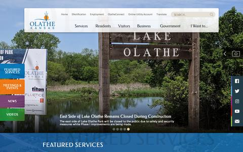 Screenshot of Home Page olatheks.org - City of Olathe   Home - captured Sept. 28, 2018