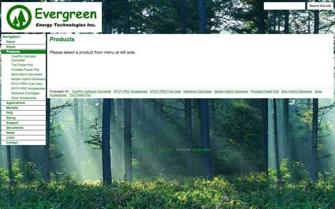 Screenshot of Products Page evergreen-eti.com - Products - Evergreen Energy Technologies Inc. - EFOY Pro methanol fuel cell power generators. Reliable, clean off-grid power. Backup for solar. Replace thermoelectric generators. - captured Oct. 3, 2014