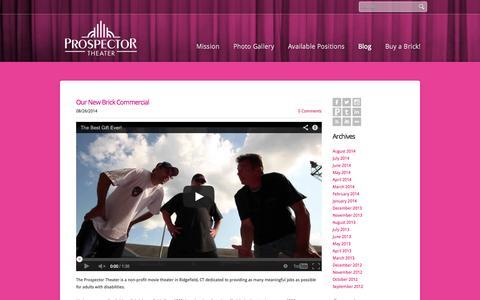 Screenshot of Blog prospectortheater.org - The Prospector Theater - Blog - captured Oct. 6, 2014