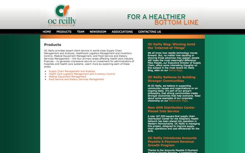 Screenshot of Products Page ocreilly.com - Healthcare Consulting | OC Reilly » PRODUCTS - captured Oct. 7, 2014
