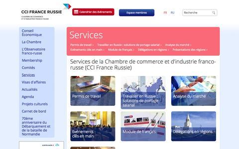 Screenshot of Services Page ccifr.ru - Services de la Chambre de commerce et d'industrie franco-russe (CCI France Russie) - captured Sept. 25, 2014