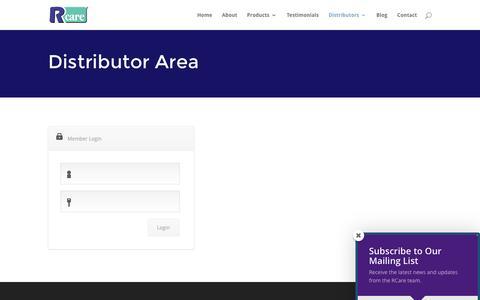 Screenshot of Login Page rcareinc.com - Distributor Area - Response Care, Inc. - captured Dec. 17, 2016