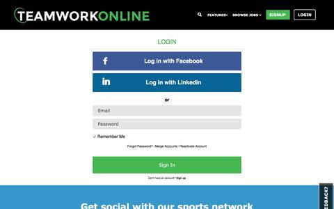 Screenshot of Login Page teamworkonline.com - TeamWork Online - Login - captured Jan. 13, 2016