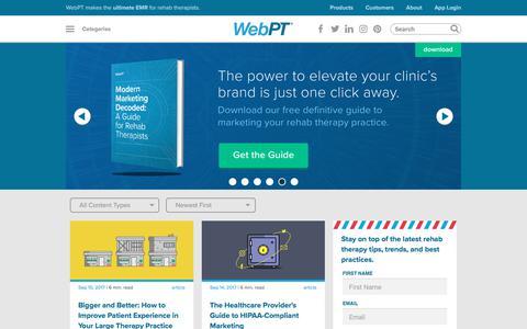 Screenshot of Blog webpt.com - WebPT's Physical Therapy Blog   WebPT - captured May 21, 2018