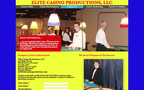 Screenshot of About Page Contact Page elitecasinoproductions.com - Contact Us   Casino Entertainment   Elite Casino Productions - captured June 23, 2016