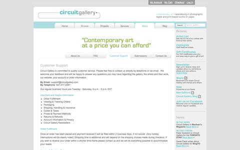 Screenshot of Support Page circuitgallery.com - Circuit Gallery | Customer Support - captured Sept. 29, 2014