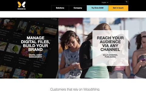Screenshot of Home Page woodwing.com - Multi-channel publishing and Digital Asset Management - WoodWing - captured Sept. 19, 2014