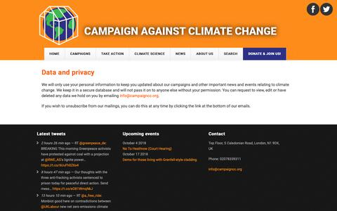 Screenshot of Privacy Page campaigncc.org - Data and privacy | Campaign against Climate Change - captured Sept. 26, 2018