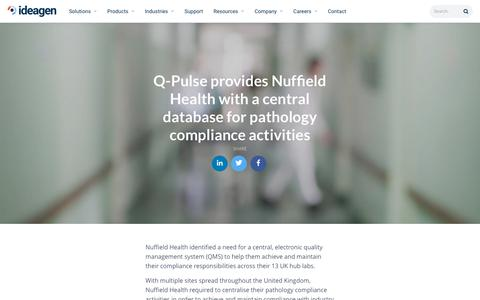 Screenshot of Case Studies Page ideagen.com - Q-Pulse helps Nuffield Health with compliance activities | Ideagen Plc - captured Nov. 29, 2019