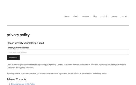 Screenshot of Privacy Page lisagouletdesign.com - privacy policy ~ Lisa Goulet Design - captured July 20, 2018
