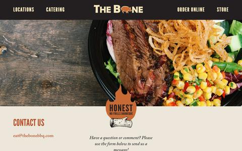 Screenshot of Contact Page thebonebbq.com - Contact Us - The Bone - captured Dec. 29, 2015