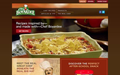 Screenshot of Home Page chefboyardee.com - Quick Meals for Dinner with Chef's Canned Foods | Chef Boyardee - captured Jan. 17, 2016