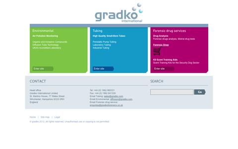 Screenshot of Home Page gradko.com - Drug Testing & Analysis | Air Pollution Monitoring, Online, UK | Gradko - captured Oct. 3, 2014