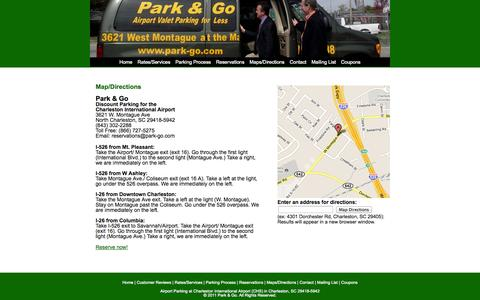 Screenshot of Maps & Directions Page park-go.com - Charleston Airport Parking Directions | Parking in the Airport CHS | Park and Fly at Charleston | Park & Go - captured Sept. 27, 2014