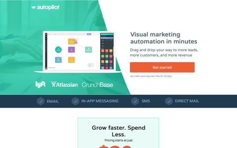 Screenshot of Landing Page autopilothq.com - Visual Marketing Automation | Autopilot - captured Oct. 25, 2017