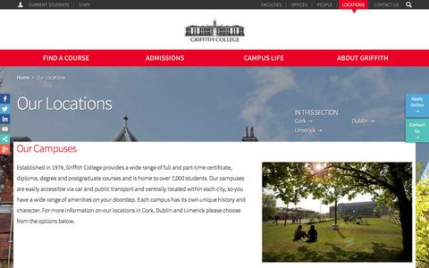 Screenshot of Locations Page griffith.ie - Our Locations | Griffith College - captured Oct. 31, 2014