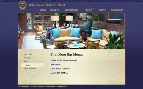 Screenshot of Menu Page thecommonwealthclub.net - Menu - Commonwealth Club - captured Oct. 6, 2014