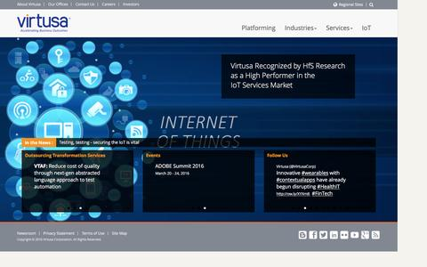 Screenshot of Home Page virtusa.com - IT Consulting Outsourcing and Agile Software Development - Virtusa - captured Feb. 5, 2016