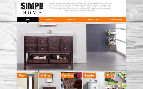 Screenshot of Home Page simpli-home.com - Simpli Home furniture, vanities, mirrors, laundry cabinets and patio - captured Oct. 7, 2014