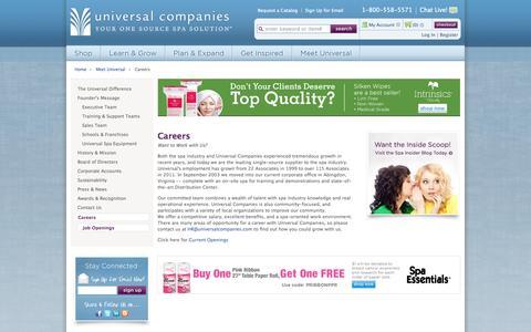 Screenshot of Jobs Page universalcompanies.com - Careers - captured Oct. 26, 2014