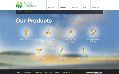 Screenshot of Products Page flaxenergy.ca - Our Products - Flax Energy - captured Sept. 30, 2014