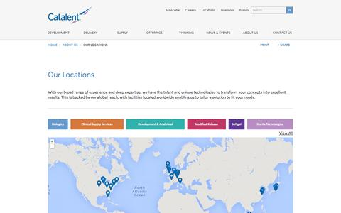 Screenshot of Locations Page catalent.com - Our Locations - captured Sept. 19, 2014