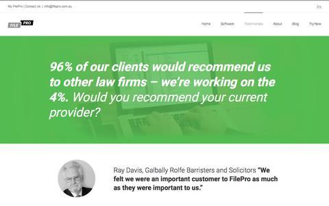 Screenshot of Testimonials Page filepro.com.au - Testimonials - FilePro -Legal Practice Management Software - captured June 6, 2017