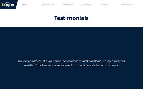 Screenshot of Testimonials Page inoneprojects.com.au - Corporate Office Design & Construction Testimonials - inOne Projects - captured June 8, 2017