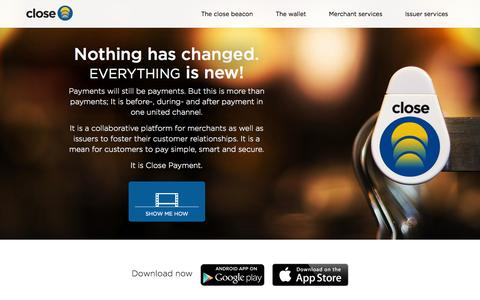 Screenshot of Home Page closepayment.com - Mobile payments & close proximity marketing - Close Payment - captured Sept. 30, 2014