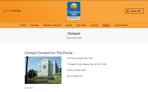 Screenshot of Contact Page comfortinnthepointe.com - Comfort Inn The Pointe Niagara Falls - Niagara Falls, NY–Comfort Inn The Pointe Niagara Falls–Niagara Falls–United States of America - captured Oct. 2, 2018