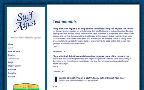 Screenshot of Testimonials Page stuffadjust.com - Testimonials - Stuff Adjust - captured Nov. 11, 2017