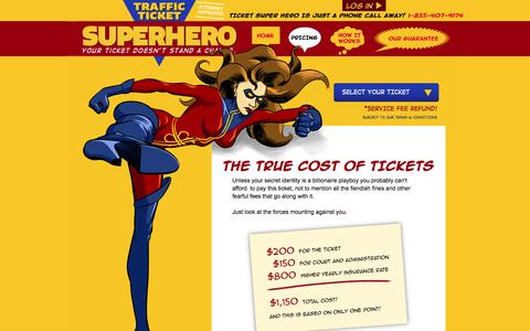 Screenshot of Pricing Page trafficticketsuperhero.com - We are the low price leader. $99 to get your ticket dismissed. « TrafficTicketSuperHero.com - captured Oct. 7, 2014