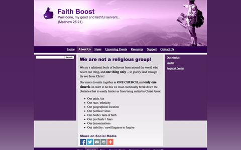 Screenshot of About Page faithboost.com - About Us - Faith Boost - captured Oct. 6, 2014