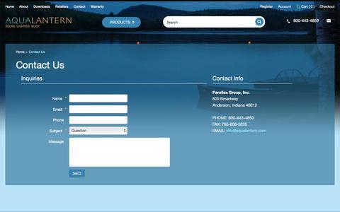 Screenshot of Contact Page aqualantern.com - Contact Us - captured Oct. 18, 2017