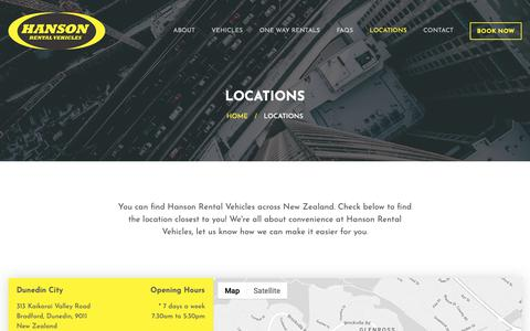 Screenshot of Locations Page hanson.net.nz - Check out our Locations for easy vehicle rental. - Hanson Rental Vehicles - captured Oct. 27, 2018