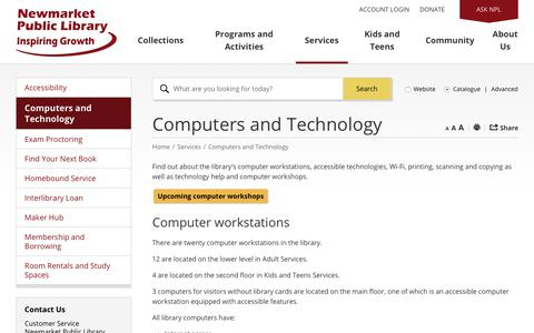 Screenshot of Services Page newmarketpl.ca - Computers and Technology      - Newmarket Public Library - captured July 4, 2017