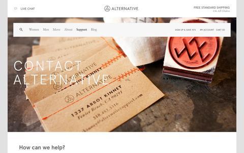 Screenshot of Contact Page alternativeapparel.com - Contact | Alternative - captured Sept. 23, 2014