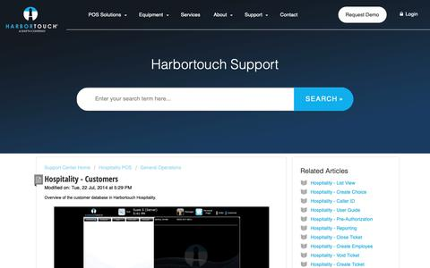 Screenshot of Support Page harbortouch.com - Hospitality - Customers : Harbortouch Support Center - captured Oct. 9, 2018