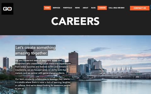 Screenshot of Jobs Page go2productions.com - Careers - Projection Mapping Specialists - Go2 Productions - captured Sept. 29, 2018