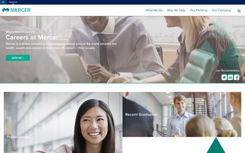 Screenshot of Jobs Page mercer.com - Mercer   Careers - captured Jan. 12, 2018