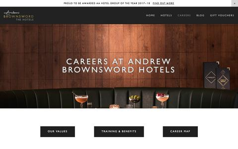 Screenshot of Jobs Page brownswordhotels.co.uk - Careers — Andrew Brownsword Hotels - AA Hotel Group of the Year 2017-18 - captured Jan. 5, 2018