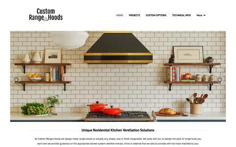 Screenshot of Home Page customrangehoods.ca - Custom Range Hoods - Oakville, ON - Home - captured Jan. 27, 2020