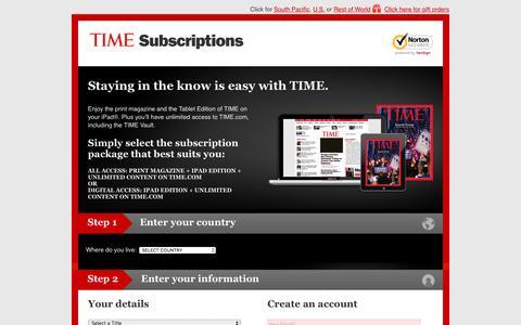 Screenshot of Landing Page time.com - TIME Asia subscription - captured Nov. 17, 2016