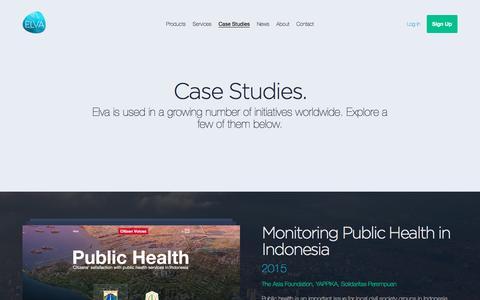 Screenshot of Case Studies Page elva.org - Elva | Case Studies - captured Nov. 6, 2016