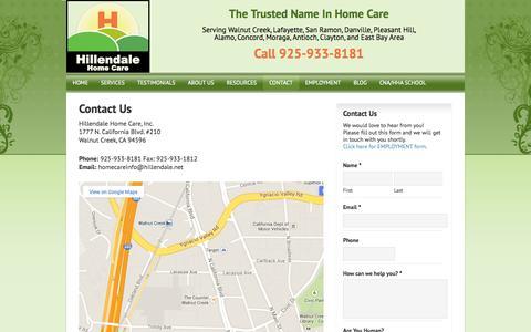 Screenshot of Contact Page hillendale.net - Elderly Care in Walnut Creek CA - captured Oct. 2, 2014