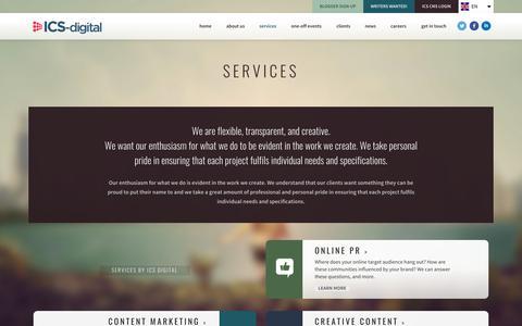 Screenshot of Services Page ics-digital.com - Services   ICS-digital - captured Oct. 21, 2015